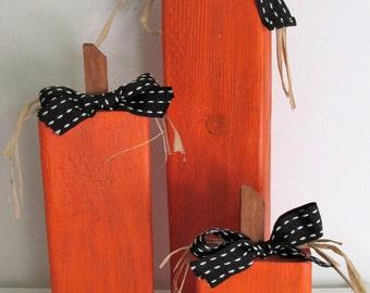 Hand-Painted Wood 2x4 Pumpkins, set of 3
