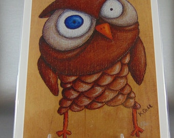 Come At Me, Bro, owl, grumpy, art, print, colored pencil, wood, drawing
