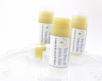 Lemon Balm and Tea Tree, lip balm, natural lip balm, for lip sores and blisters