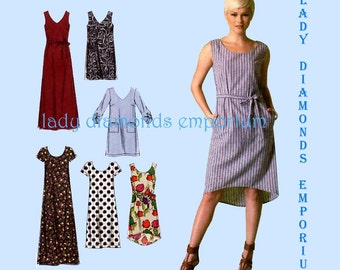 McCalls M7120 Womens Plus Size A-Line Dress 6 Styles size L XL XXL Bust 38 40 42 44 46 48 Easy Learn to Sew for Fun Pattern 7120 Uncut FF