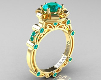 Caravaggio 14K Yellow Gold 1.0 Ct Blue Zircon Engagement Ring R631-14KYGBZ
