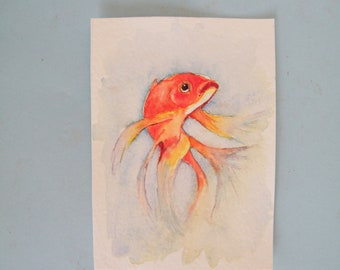 Pet portrait,  original watercolor,  goldfish painting,  small aceo sized,  fish wall art,  water life painting,  beach cottage decor