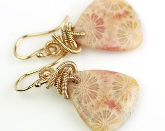 Peachy Pink Fossil Coral Earrings with Gold Fill Coils