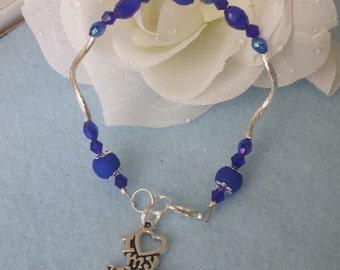 "Bracelet I Love my Soldier"" blue"