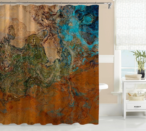 Abstract Art Shower Curtain Contemporary Bathroom Decor, Southwest Shower  Curtain In Rust And Turquoise, Bathroom Art, Canyon Sunset