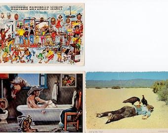 Lot of 3 Vintage Cowboy Postcards | Cowboys, Humorous, Rodeo, West, Western, Humor | Paper Ephemera | Scrapbooking, Altered Art, Collage