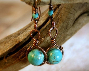 Rustic Hammered Copper and Turquoise Dangle Earrings Copper Jewelry