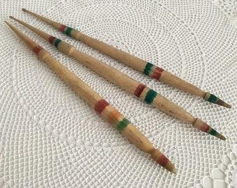 Wooden Spindles - Set of 3 Turned Wooden Spindles Rustic Decor - Antique Wool Spindles Set of 3 - Primitive Bulgarian Spindles