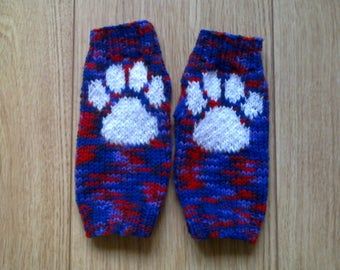Paw print wrist warmers - red purple mix with white - fingerless gloves