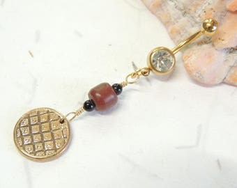 Hand Cast Bronze Belly Ring with Pipe Stone Bead, Gold Belly Ring, Navel Piercing, Unique Belly Ring, Pipe Stone Jewelry