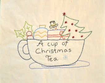 "PDF Pattern ""A Cup of Christmas Tea"" Stitchery Christmas Holiday Embroidery"
