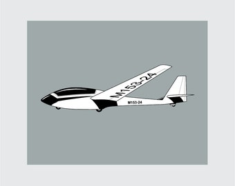 Airplane Art Print, 8x10 PRINTABLE, Glider, Instant Download, Digital