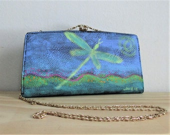 Abstract Dragonfly Hand Painted Clutch Bag Purse Handbag