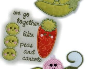 Instant Digital Download 4X4 Set Sweet Pea - Peas & Carrots Applique Machine Embroidery Designs