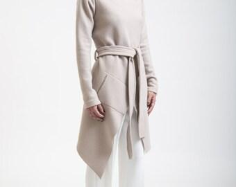 Stylish Jacket / High Collar Sweater Jacket / Asymmetrical Jacket / Trench Coat / Marcellamoda - MC0017