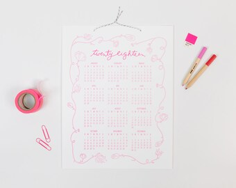 Bennet 2018 | letterpress wall calendar (HOT PINK ink)