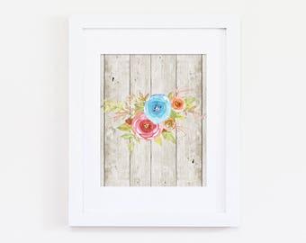 Floral Art Print, Girls Bedroom Decor, Floral Nursery Art Print, Rustic Home Art Wood Art Home Gallery, Rustic Nursery Art, Instant Download