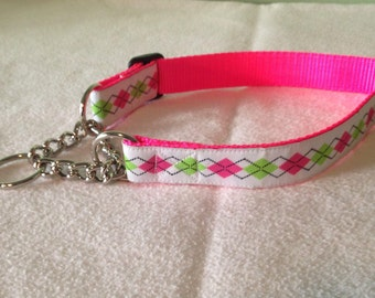 """Beautiful Jacquard Ribbon Chain Martingale Collar, White Lime Pink Argyle, 1 inch wide and adjustable 16"""" to 22"""""""