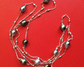 Necklace silver Tahitian pearls / Tahitian pearl long necklace