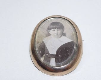 Vintage Picture Locket Brooch Antique Large Pin Rolled Gold Plated Frame French