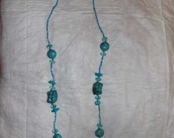 "Teal blue beaded 33"" necklace - gn4"