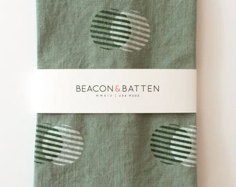 Stripe Circle Towel : Juniper Green Ground - Dark Green/White Print