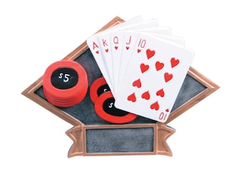 CLOSEOUT - Poker Diamond Resin - Deck of Cards Award - Poker Champion Trophy