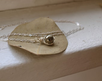 Round Pyrite Necklace Small Fools Gold Necklace Dainty Healing Crystal Necklace Small Crystal Necklace Gift For Girl Gift for Best Friend
