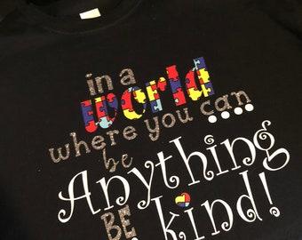 Autismus Bewusstsein Shirt, Be Kind Autismus Puzzle-Stück T-shirt