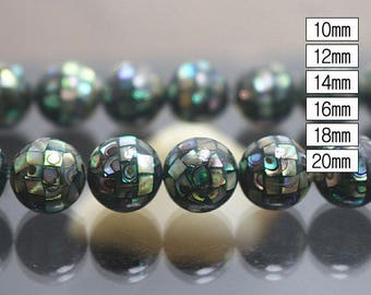 Natural Abalone Mosaic Round Beads 10pcs ( 10mm 12mm 14mm 16mm 18mm 20mm )