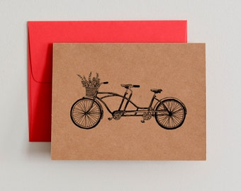 INSTANT DOWNLOAD / DIY Printable Kraft Paper Notecards / Bicycle Built for Two / Blank Inside
