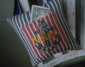 Anchor Tooth Fairy Pillow - Nautical Tooth Fairy Pillow - Personalized Tooth Fairy Pillow - Monogrammed Child's Hanging Pillow
