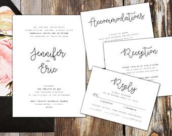 Wedding Invitation Package - Minimalist, Modern, Simple Black - Printable Package!!