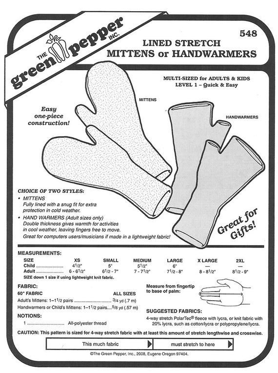 Items similar to Green Pepper Sewing Patterns Fleece Gloves ...