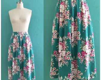 vintage 80's green floral pleated skirt // spring midi skirt