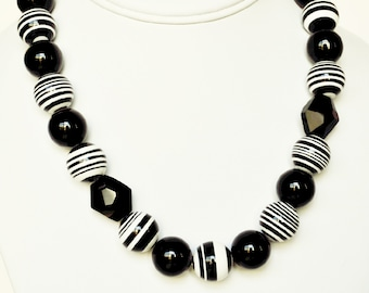 Black Necklace and White Handmade Beaded Necklace