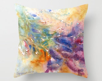Lavender Watercolor Throw Pillow Cover