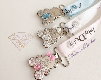 Pacifier clip made with Swarovski Crystals - Baby Shower Gift  - Teddy Bear Metal Clips - Bling Pacifier Clip By Neonilla Berdar
