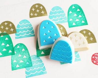 happy mountain stamp set | woodland pattern rubber stamps | diy card making | paper stamping | hand carved by talktothesun | set of 3
