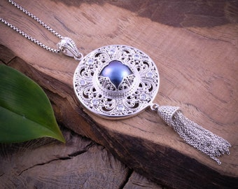 Best Selling Balinese Padma Acala Silver Pendant / Sterling Silver / Blue Mabe Pearl / Balinese Jewelry