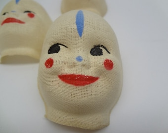 4 Vintage Cloth Clown Or Harlequin Doll Faces