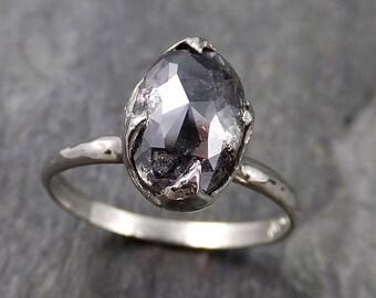 Fancy cut salt and pepper Diamond Solitaire Engagement 14k White Gold Wedding Ring byAngeline 1162