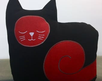 "15"" Black Denim Cat Pillow"