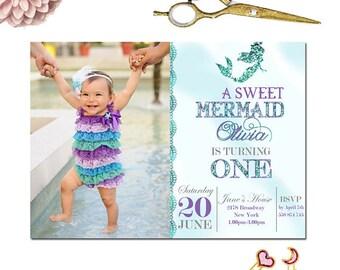 Mermaid Birthday Invitation Little Mermaid Party Invite Under