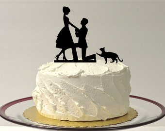MADE In USA, Cat + Bride & Groom Silhouette Wedding Cake Topper With Pet Cat Family of 3 Silhouette Engagement Cake Topper Bride and Groom