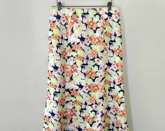Vintage 1990s Long Floral Maxi Skirt Size 12 Paneled Flair Bottom Talbot's Talbots Flowers Pink Blue Orange Women's Long Skirt Side Zipper