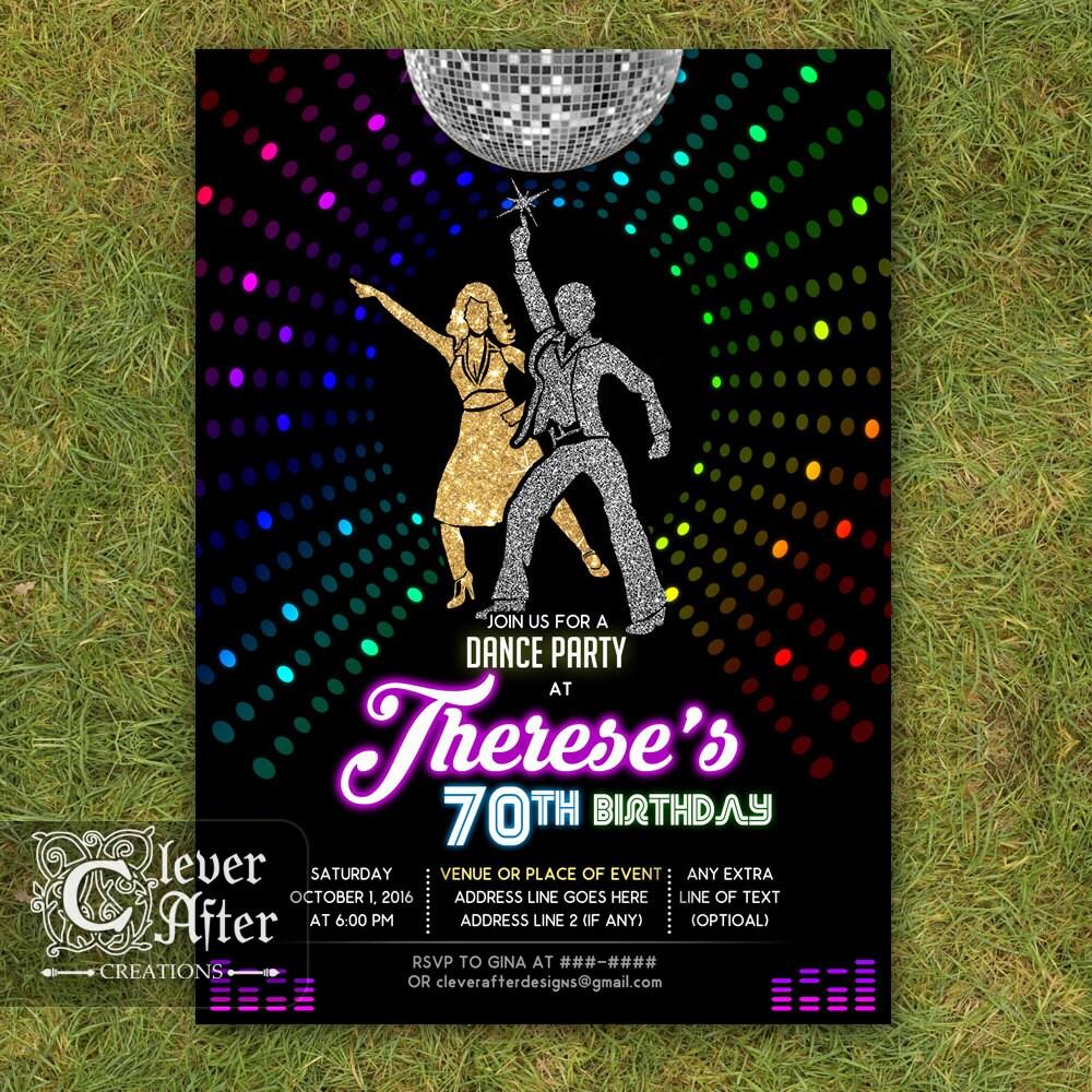 Disco Invitation 70\'s disco dance night party invite Neon