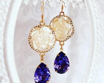 Tanzanite Earrings - Rose Earrings - Lavender Earrings - ELIZA Earrings