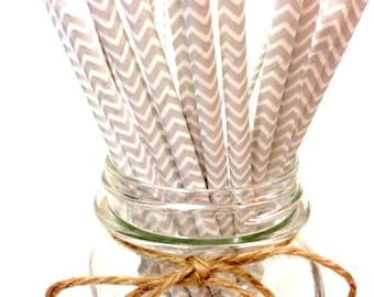 25 Silver chevron paper straws - // baby bridal shower decorations // candy dessert buffet table // wedding // First birthday/new year party