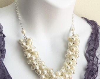 Ivory Cluster Necklace Bridal Necklace Ivory Pearl Necklace Chunky Necklace Earrings Ivory Necklace
